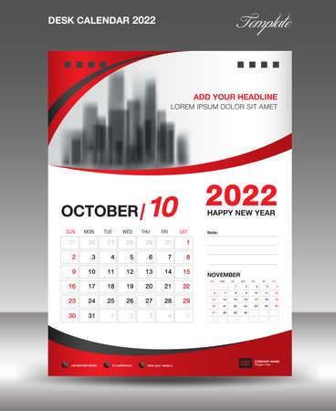Desk calendar 2022 template, October month design, Wall calendar design, Calendar 2022 template modern style, Planner, week starts on sunday, printing media, advertiement, Red curve background Ilustração Vetorial
