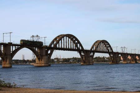 bridge with trane Stock Photo