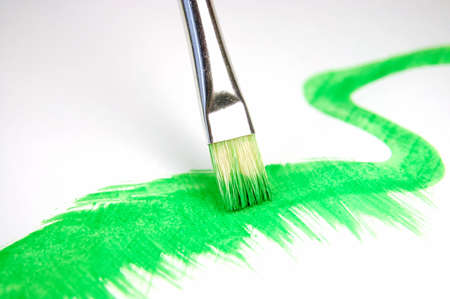 paintbrush and painted brush stroke isolated