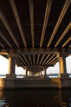 dnepr: night bridge on dnepr river