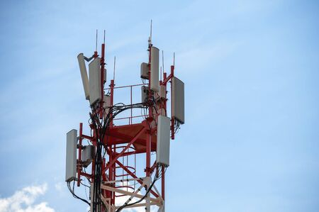 metal tower with antennas for broadcasting, television and high-speed Internet