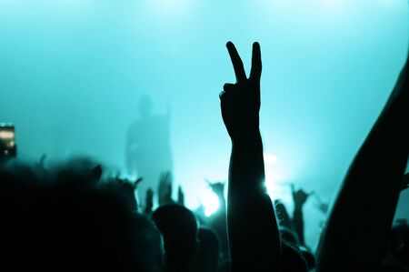 hand of a dancing fan from the crowd at a concert of a popular band. silhouette of a musician on stage in a blue haze. music festival banner