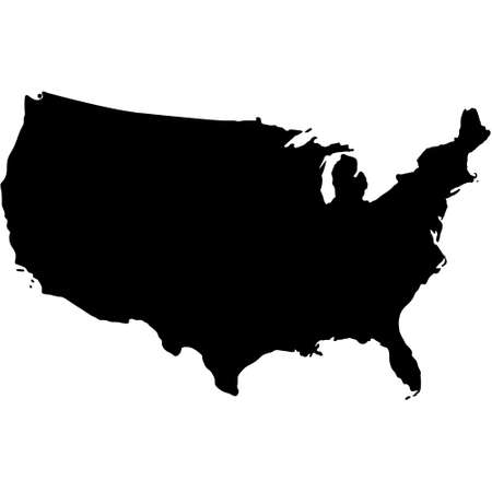 black silhouette design map of American country
