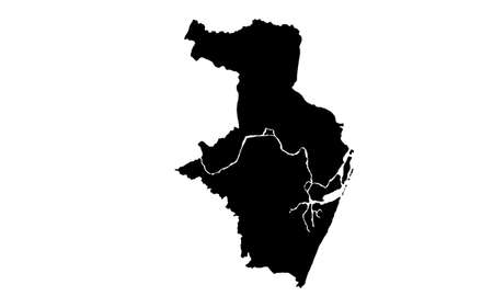 black silhouette of a map of the city of Recife in Brazil on a white background
