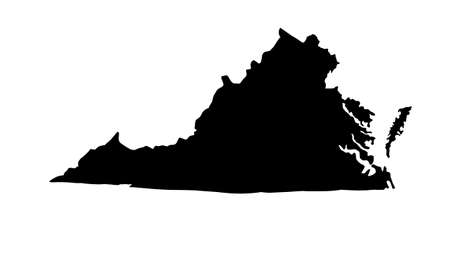 black silhouette of map of Virginia city in USA on white background