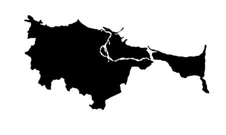 silhouette map of the city of Gdansk in Poland