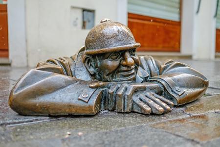 Man at work monument in Bratislava 1 Stock Photo