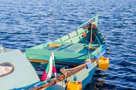blue fish: Traditional bulgarian boat Stock Photo