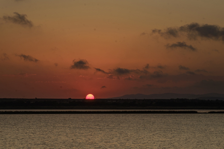Sunset over salty lake