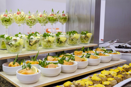 Buffet with fresh salads and snacks 4