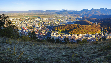 Bird's eye view of city and mountains panorama in Brasov, Romania 2