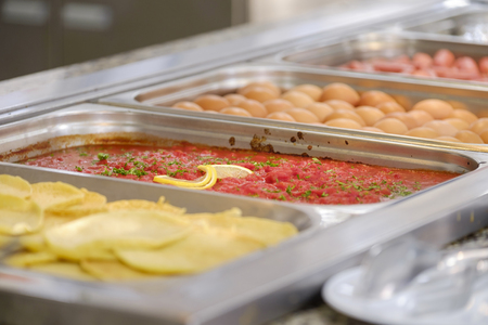Delicious and fresh breakfast buffet with main dishes 1 Stock Photo