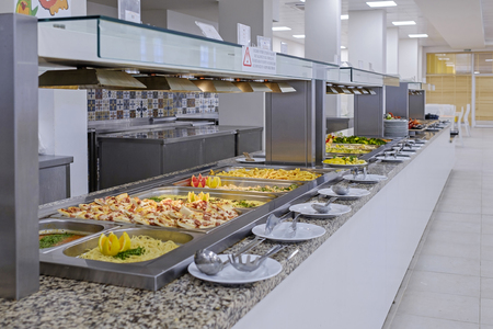 Long buffet with dishes and tasty desserts 3