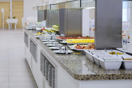 Buffet with tasty main dishes 5 Stock Photo
