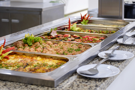 Buffet with tasty main dishes 3 Stock Photo