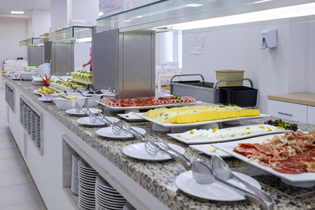 Long buffet with dishes and tasty desserts 6
