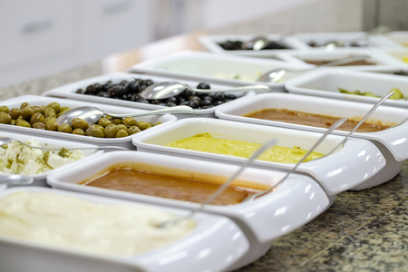 Delicious and fresh breakfast buffet with sauce 1 Stock Photo