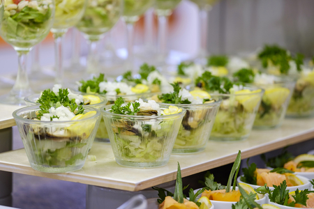 Buffet with fresh salads and snacks 6 Stock Photo