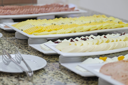 Delicious and fresh breakfast buffet with cheese 1