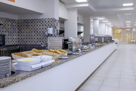 Long buffet with dishes and tasty desserts 1