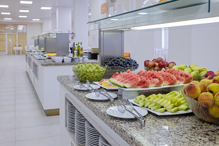 Long buffet with dishes and tasty desserts 4