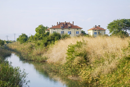 Old vintage houses near the small river