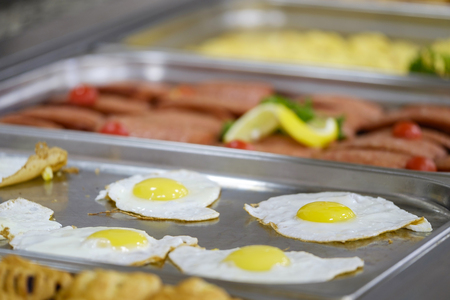Delicious and fresh breakfast buffet close up 1