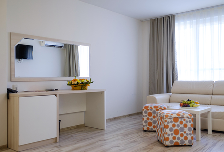 Bright and modern interior of hotel comfortable double room 9