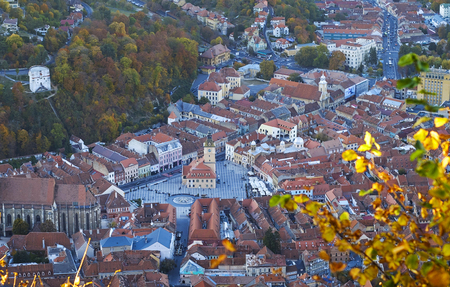 Aerial View Panorama of Brasov City Center in summer time 6