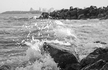 Stone beach in stormy windy weather 2
