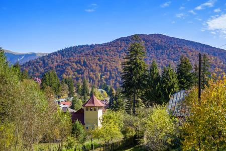 Countryside landscape in the mountains near Sinaia, Romania in autumn 1