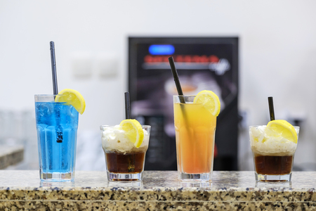Various cocktails on the granite bar counter 6