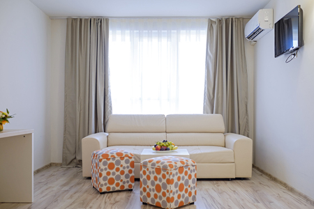 Bright and modern interior of hotel comfortable double room 7