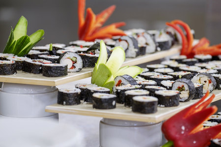 Buffet with sushi and rolls and vegetables 4 Imagens
