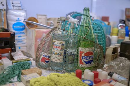 Vintage basket with Pepsi bottles