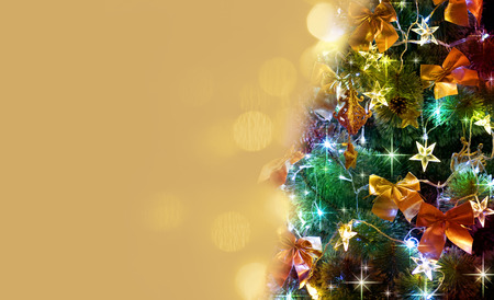 Christmas tree with golden blurred background
