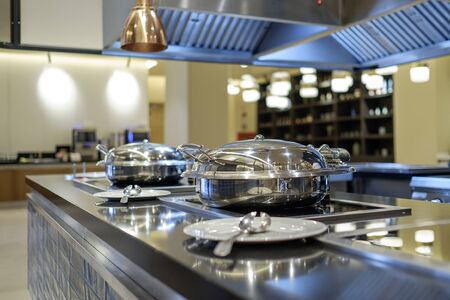 Professional metal kitchen equipment at buffet tables 4