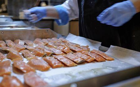 Preparing Mediterranean food on professional kitchen 8