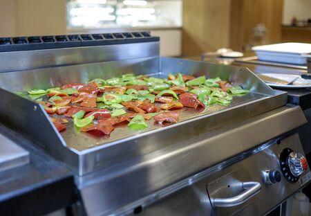 Preparing Mediterranean food on professional kitchen 1