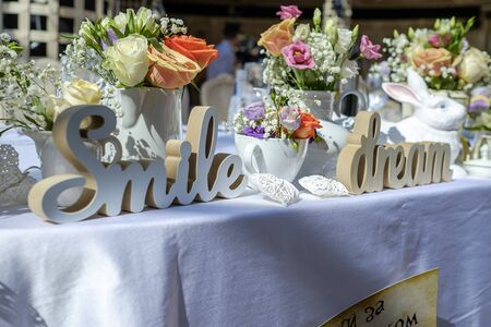 Wedding table decorated with garden flowers 6