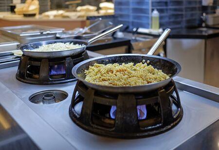 Preparing Mediterranean food on professional kitchen 3