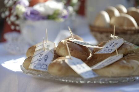 Wedding table, decorations, food and gifts 2 Stock fotó