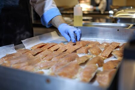 Preparing Mediterranean food on professional kitchen 10