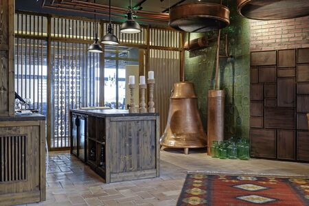 Bar with copper and wooden elements in design
