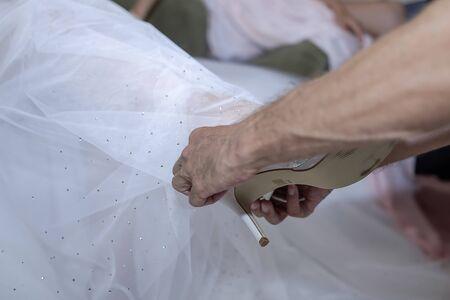 Bride in white dress wedding preparation 2