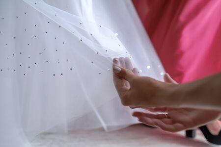 Bride in white dress wedding preparation 4