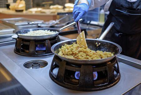 Preparing Mediterranean food on professional kitchen 5