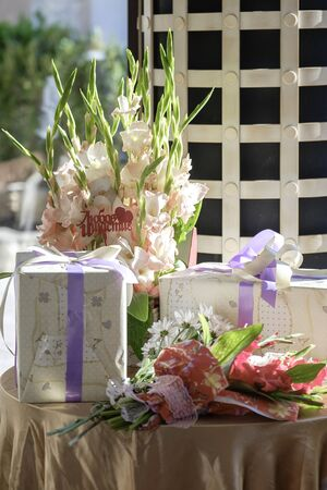 Wedding table, decorations, food and gifts 5