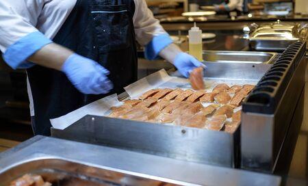 Preparing Mediterranean food on professional kitchen 9
