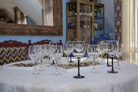 Wedding table with few champagne glasses 1